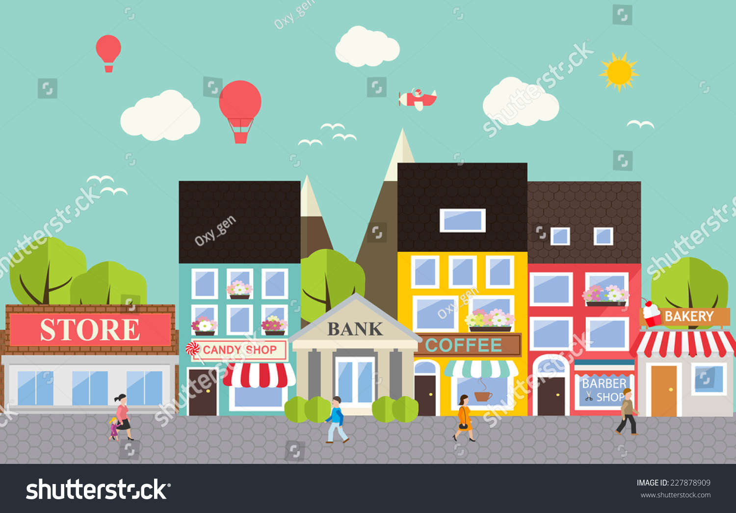 Royalty free small town urban landscape in flat for Free people store decor