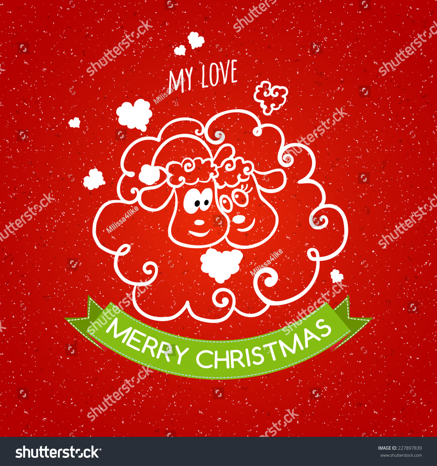 Merry Christmas Card Handdrawn Sheep Love Stock Vector Royalty Free