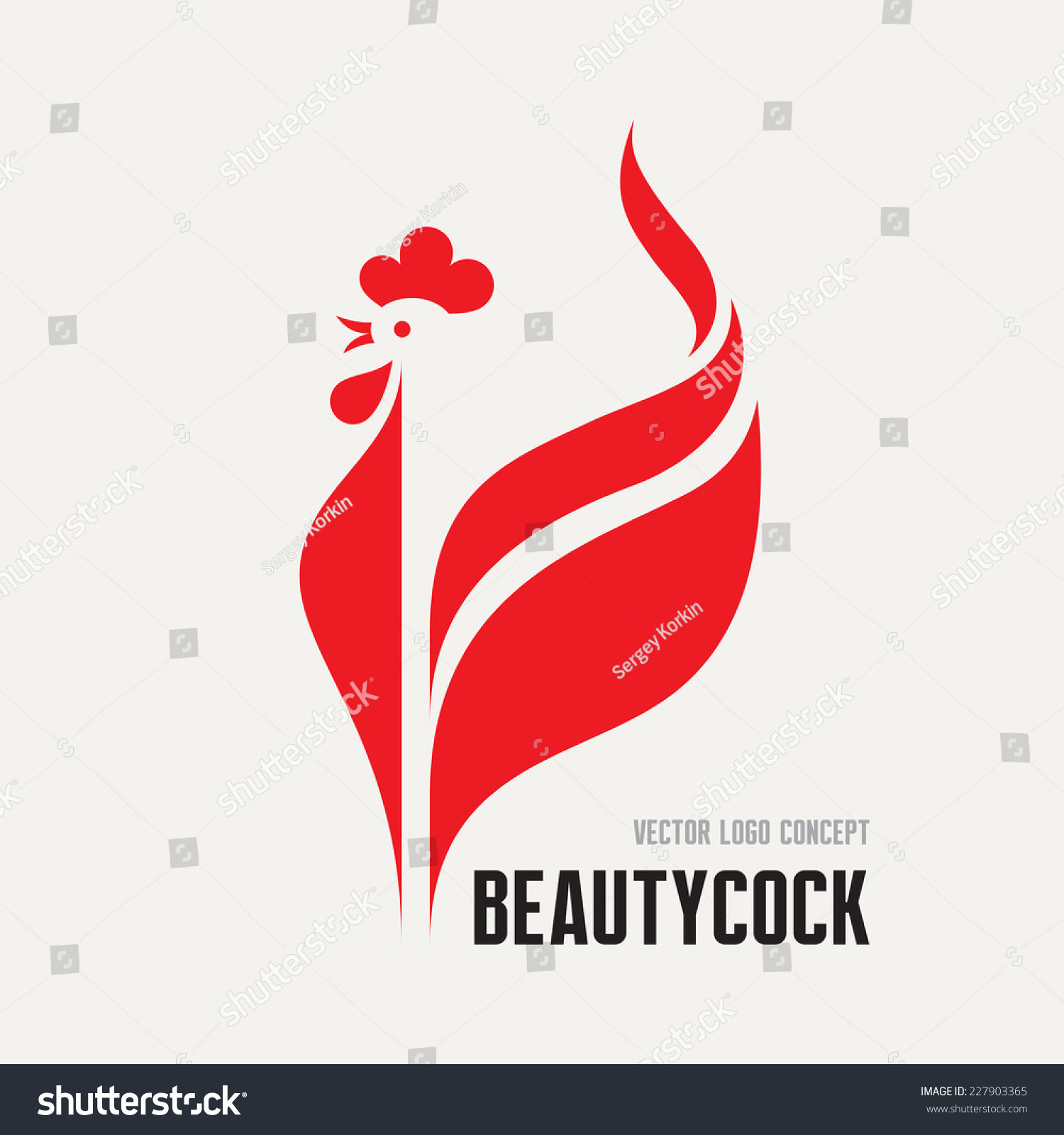 Beauty cock rooster vector logo concept Bird cock minimal illustration Vector logo template Cock design element