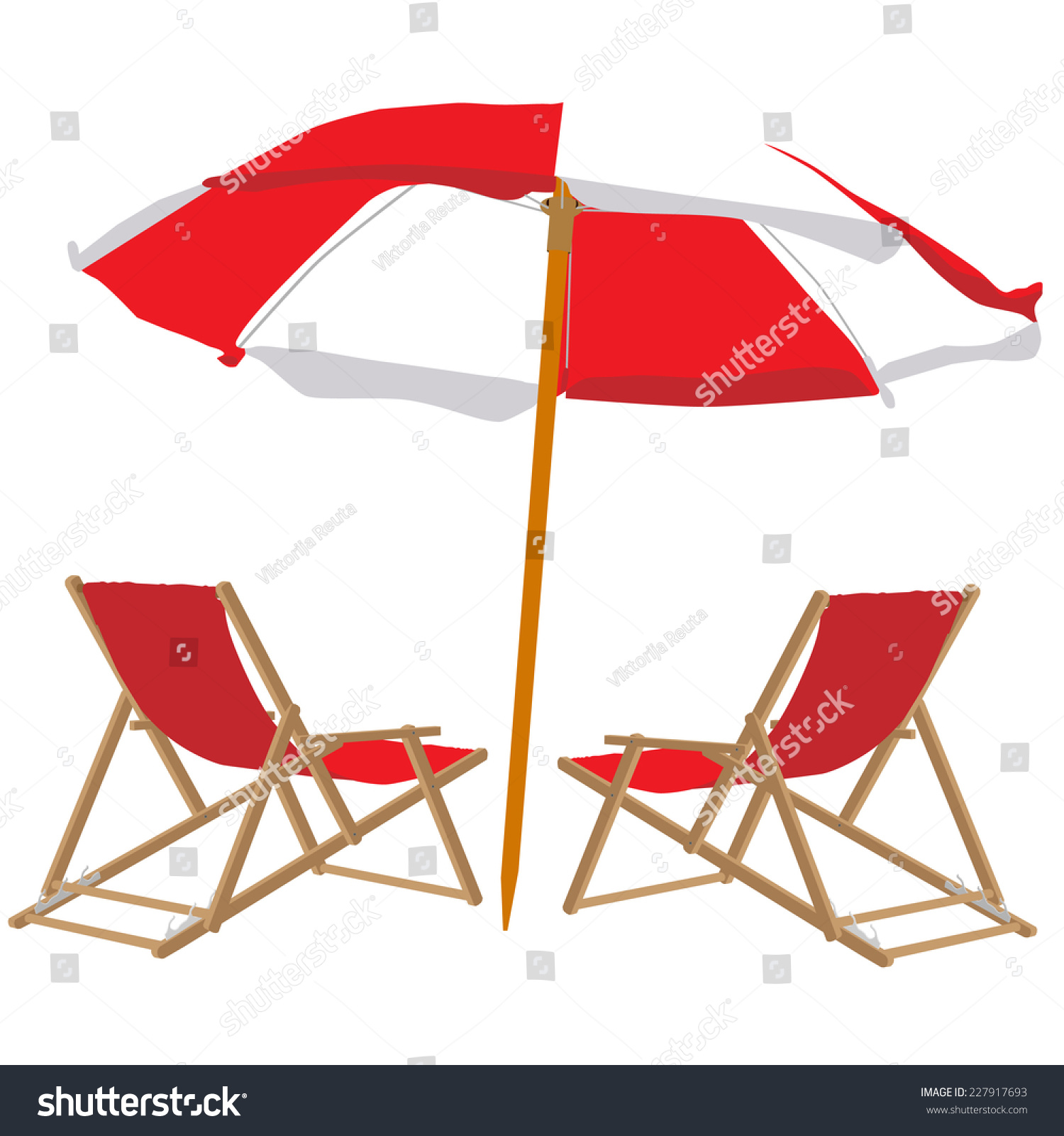 Beach Chair Umbrella Beach Chair Beach Stock Vector