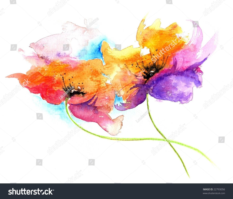 Floral Watercolor Illustration Fantasy Flowers Beautiful