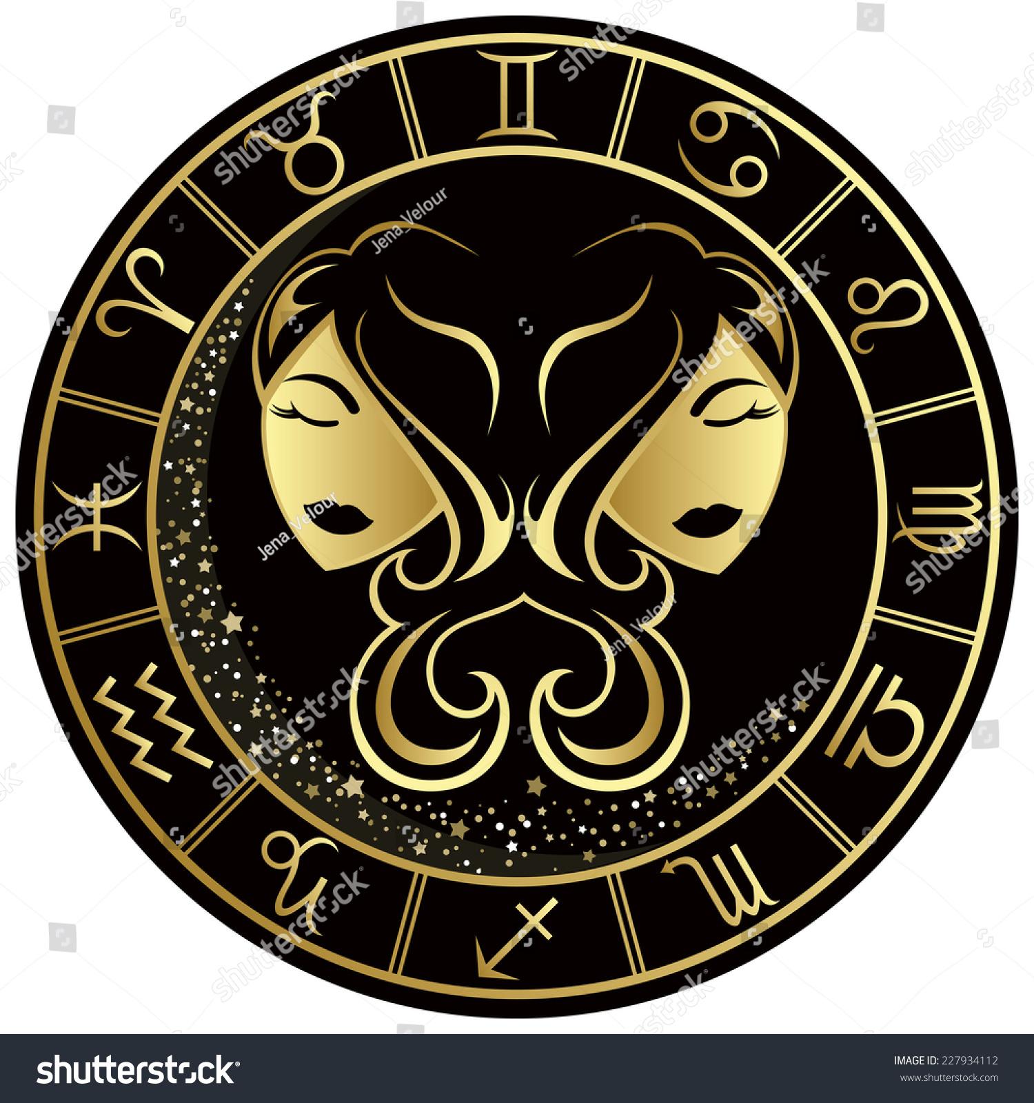 Gemini zodiac symbol golden round frame stock vector 227934112 gemini zodiac symbol in the golden round frame vector illustration biocorpaavc