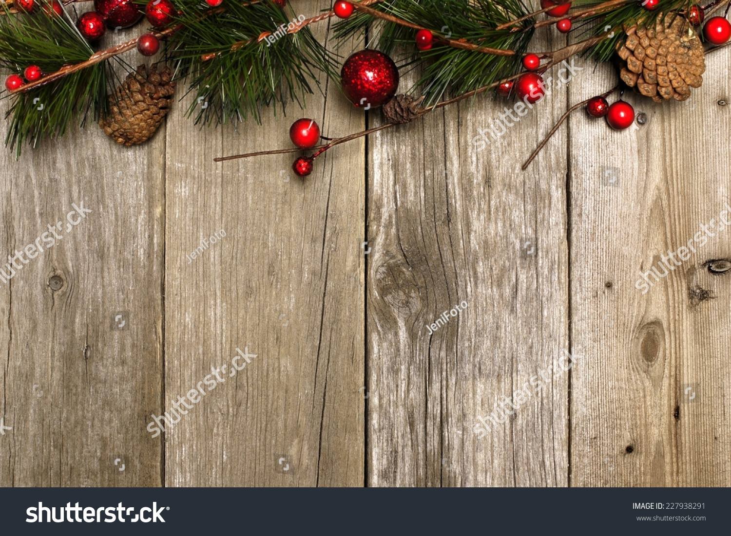 aged wood christmas background with branches and baubles. Black Bedroom Furniture Sets. Home Design Ideas