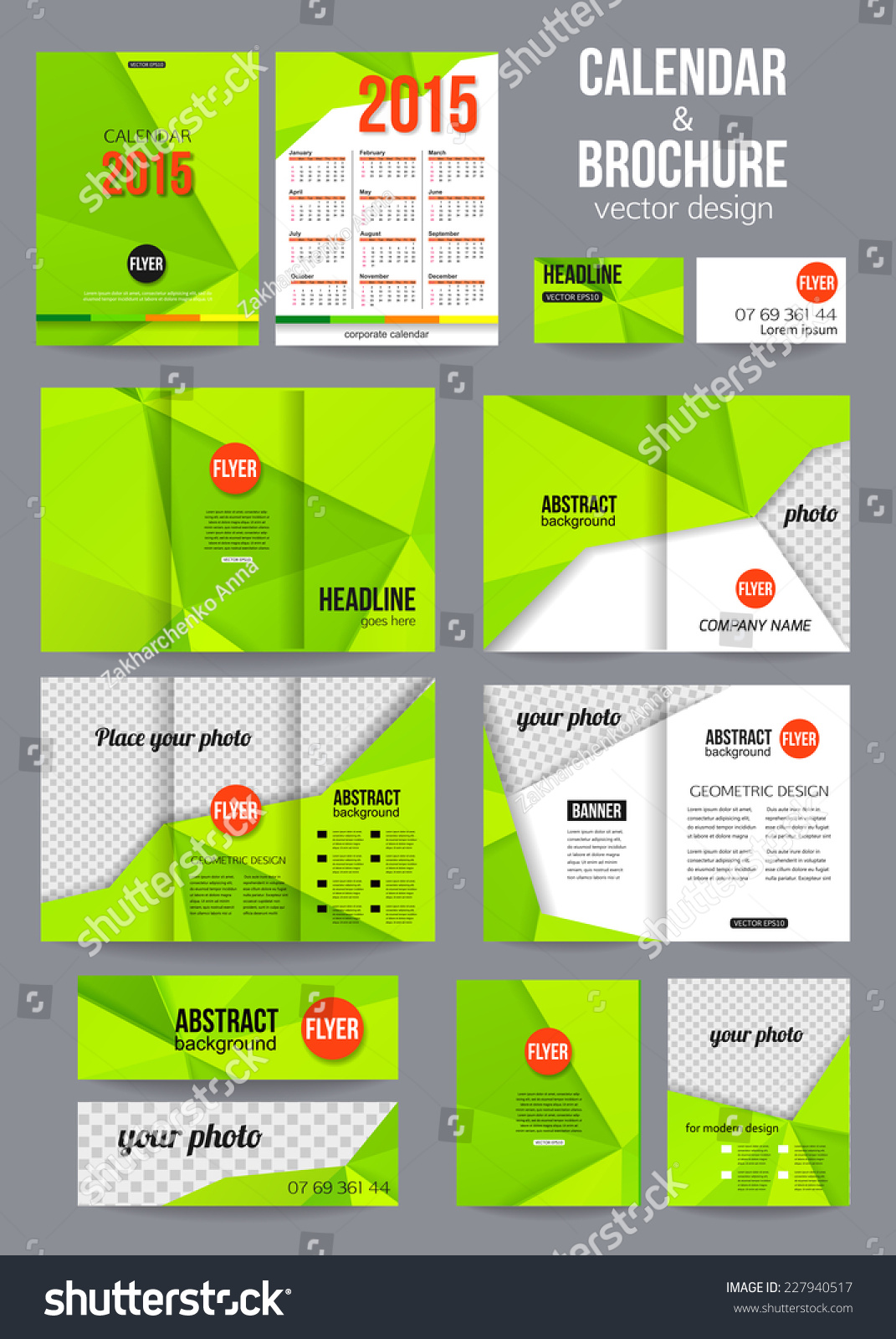 Set Of Corporate Business Stationery Templates Abstract Brochure – Calendar Flyer Template