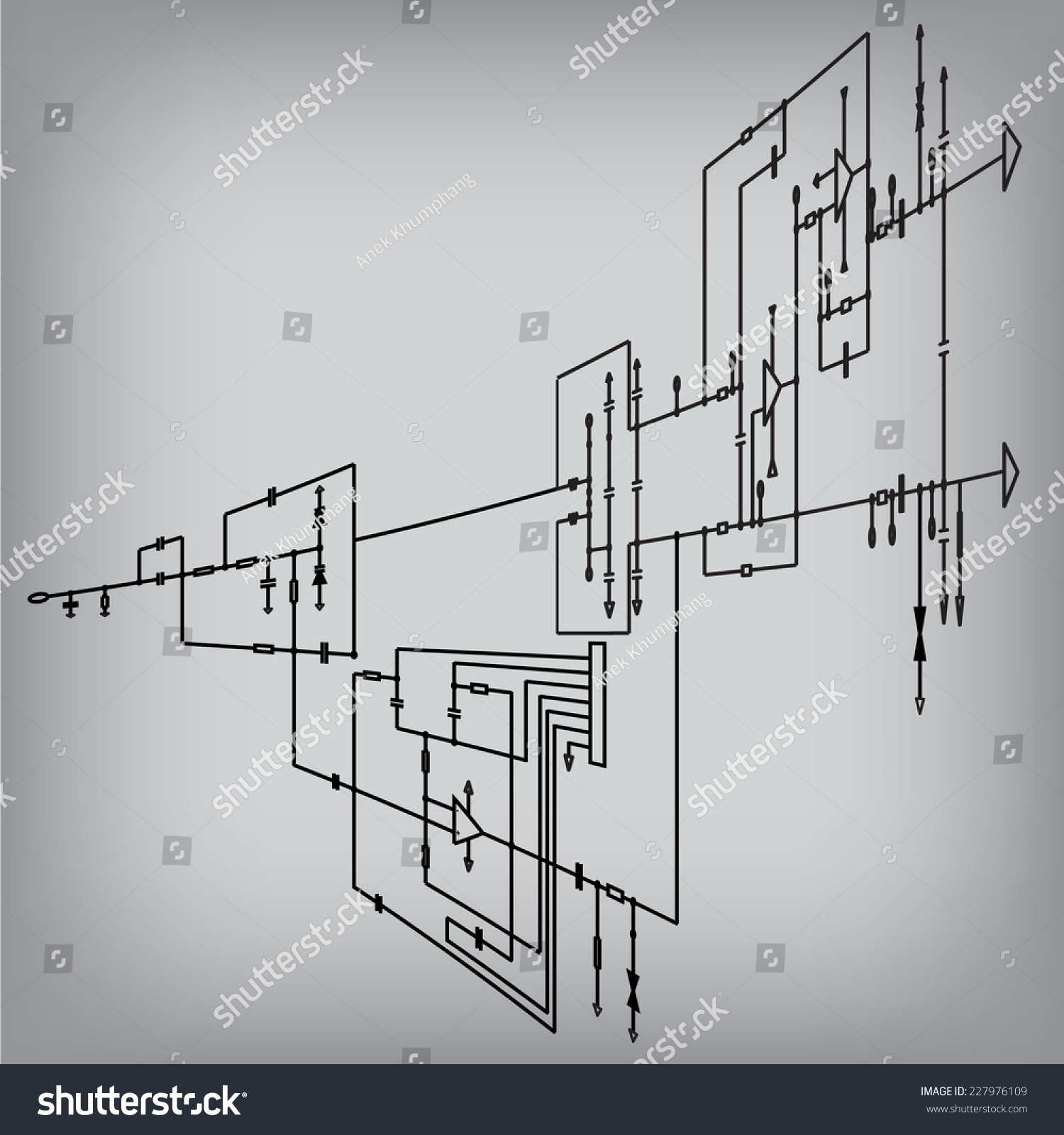 Schematic Diagram Project Electronic Circuit Graphic Stock Vector Schematics Of