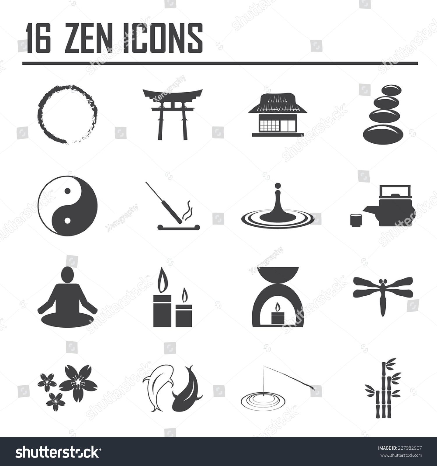 Zen Icons Buddhism Zen Philosophy Icon Stock Vector 227982907 ...