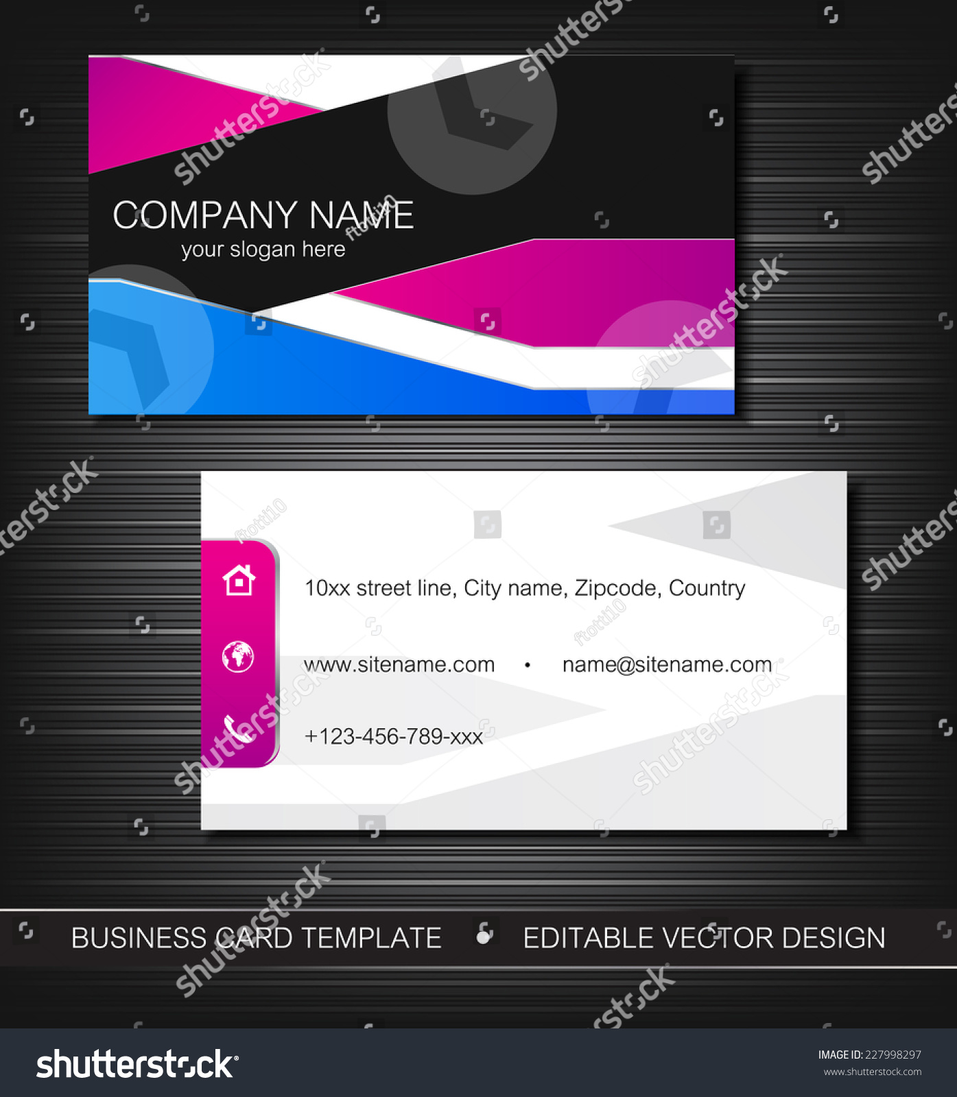 Business card template front back sideeditable stock vector royalty business card template with front and back sideeditable vector design accmission Image collections