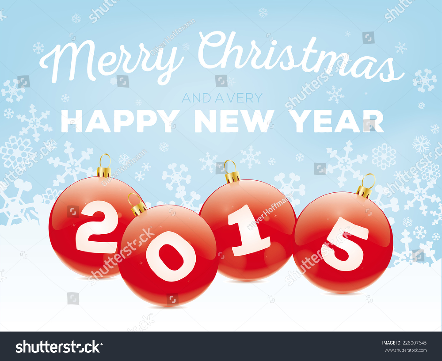 Merry christmas happy new year 2015 stock vector 228007645 merry christmas and happy new year 2015 greeting card vector illustration with baubles and snow flakes kristyandbryce Images