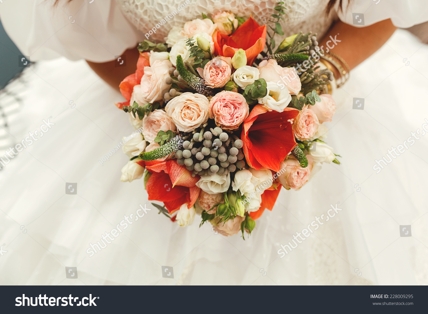 Bride Holding Wedding Bouquet Red White Stock Photo Edit Now
