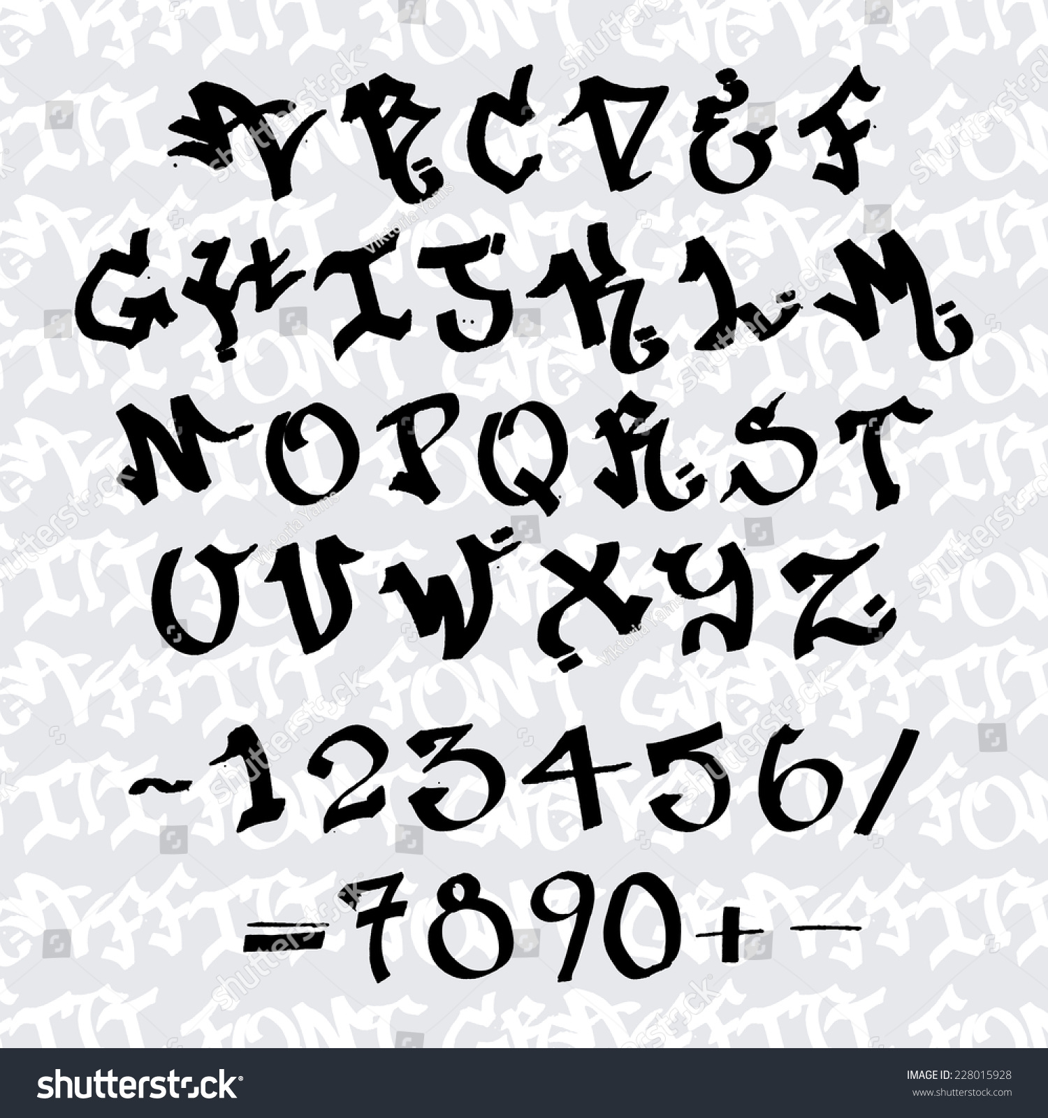 Ink graffiti handwritten tag letters alphabet vector