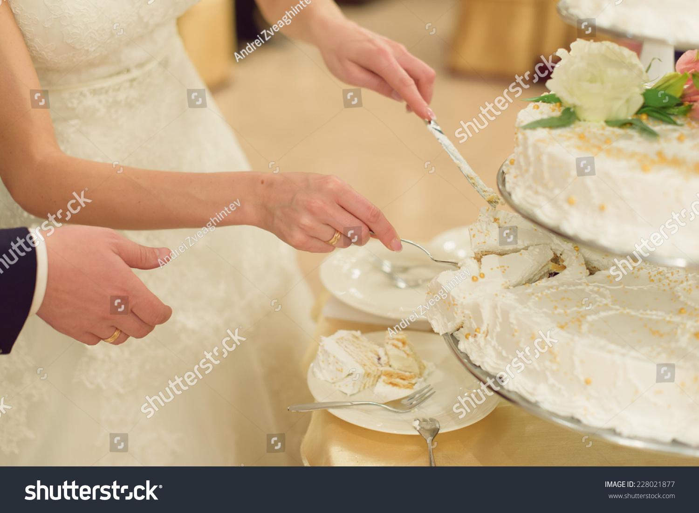 Bride Taking Slice White Wedding Cake Stock Photo (Royalty Free ...