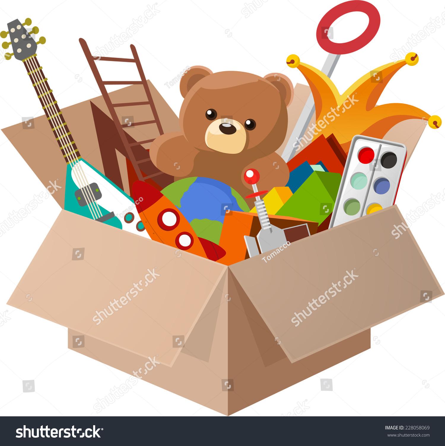 Line Art Cartoon Toys Vector : Toy box full toys including teddy stock vector