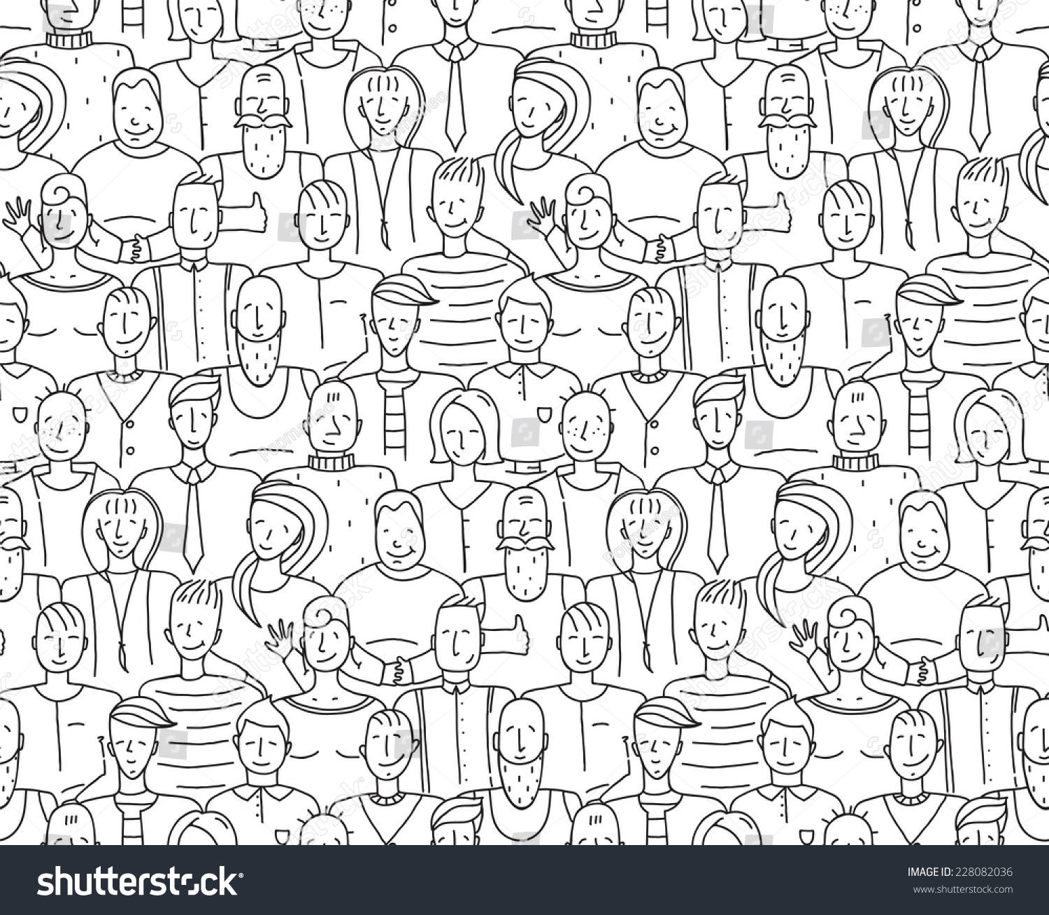 Uncategorized People Drawing royalty free black and white people throng 228082036 seamless background monochrome outline drawing vector illustration eps8