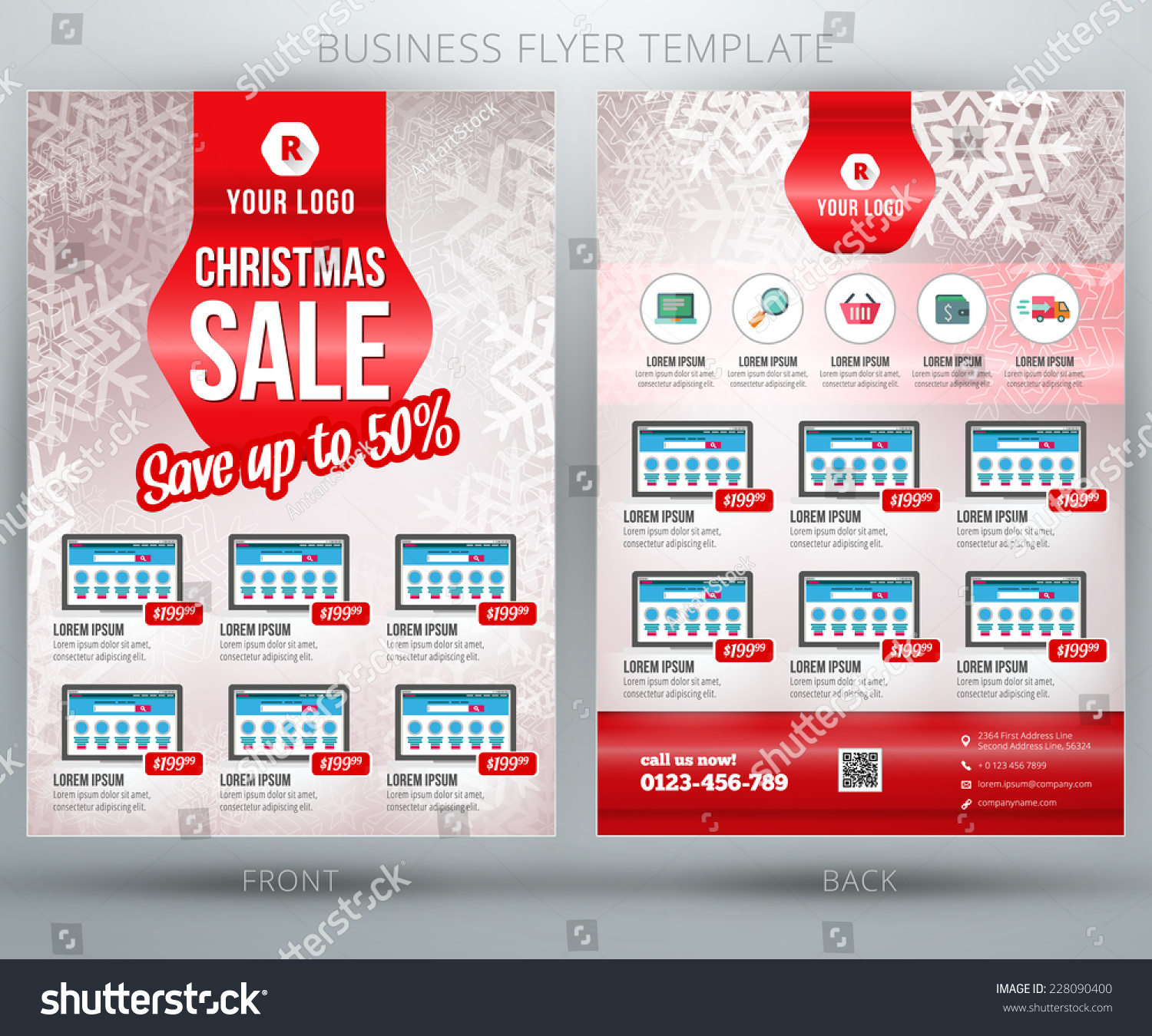 christmas shopping vector business flyer stock vector christmas shopping vector business flyer or brochure template and place for product photo