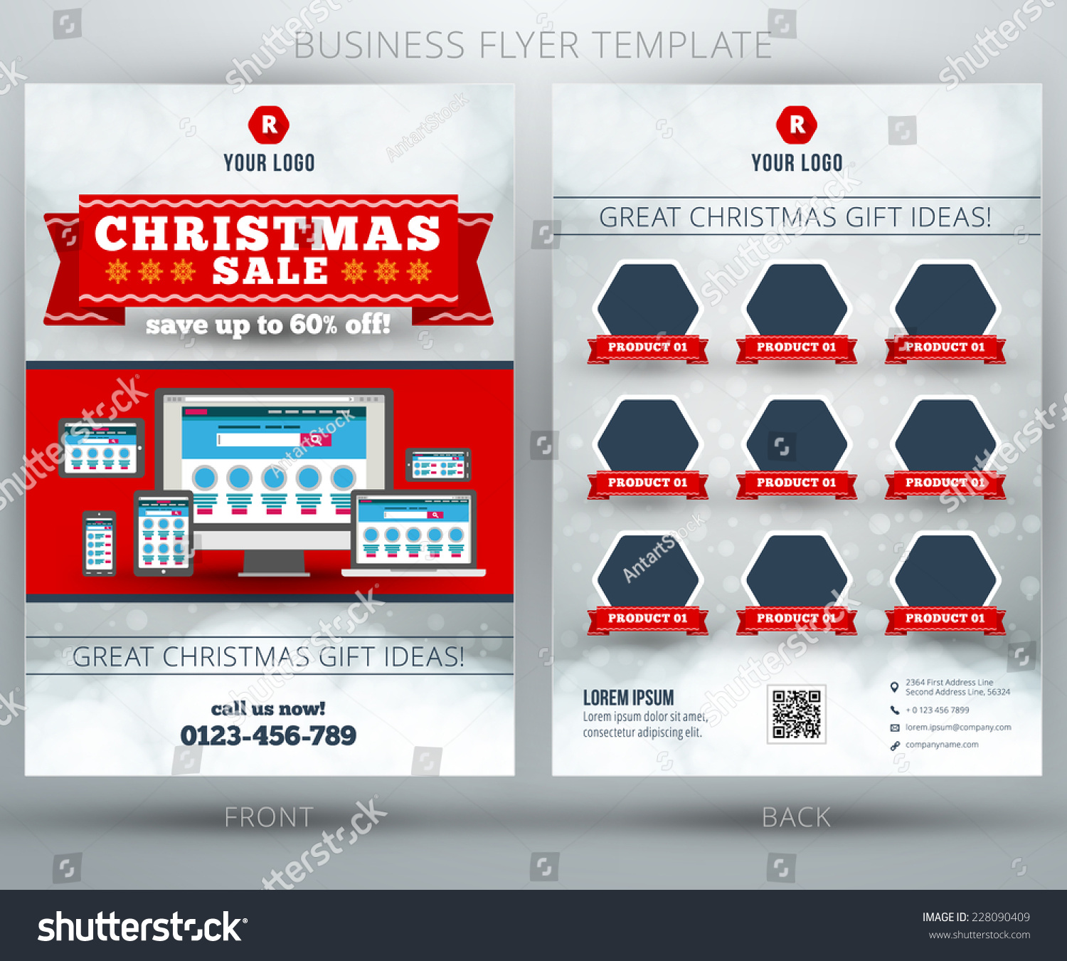 christmas shopping vector business flyer or brochure template save to a lightbox