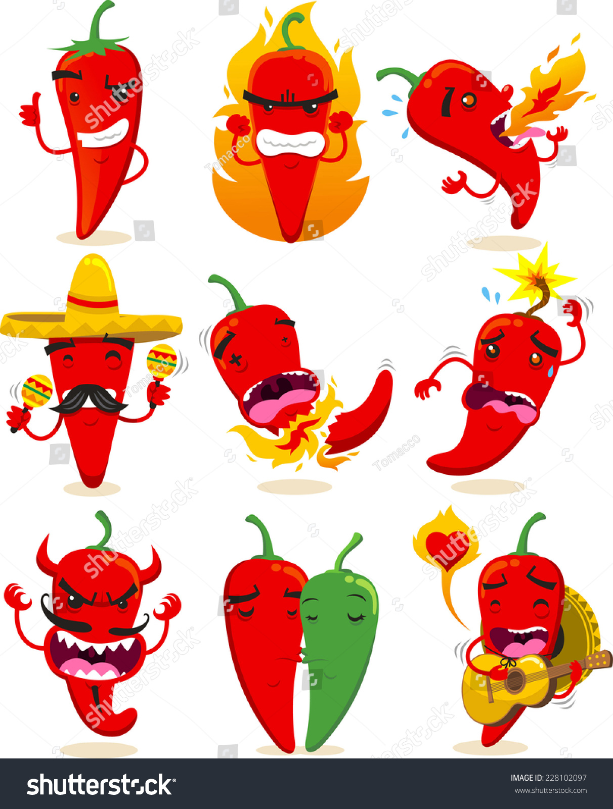 Nine Different Ways You Can Put Your Goals In Writing: Nine Different Chili Pepper In Different Situations Chili