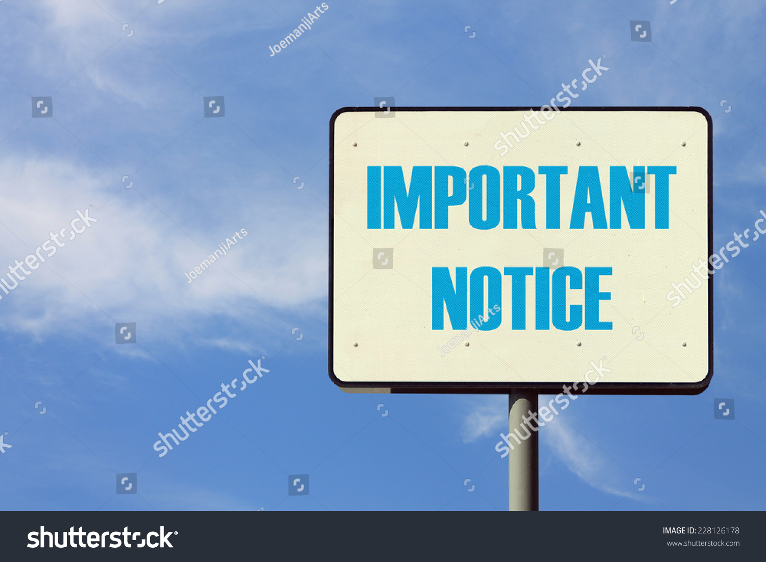 Important Notice Sign Stock Photo 228126178 : Shutterstock