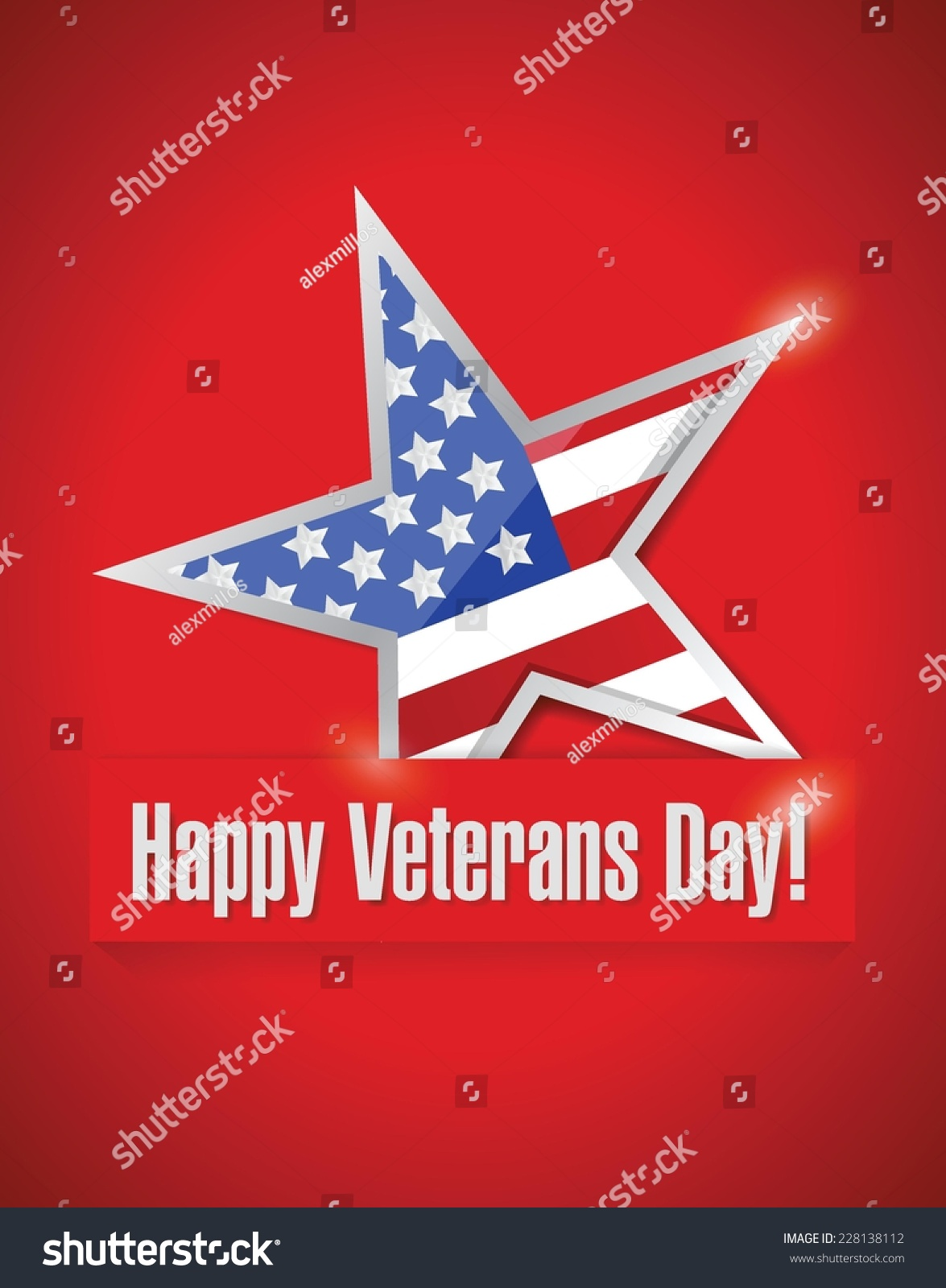 Happy veterans day card illustration design over a red background id 228138112 m4hsunfo