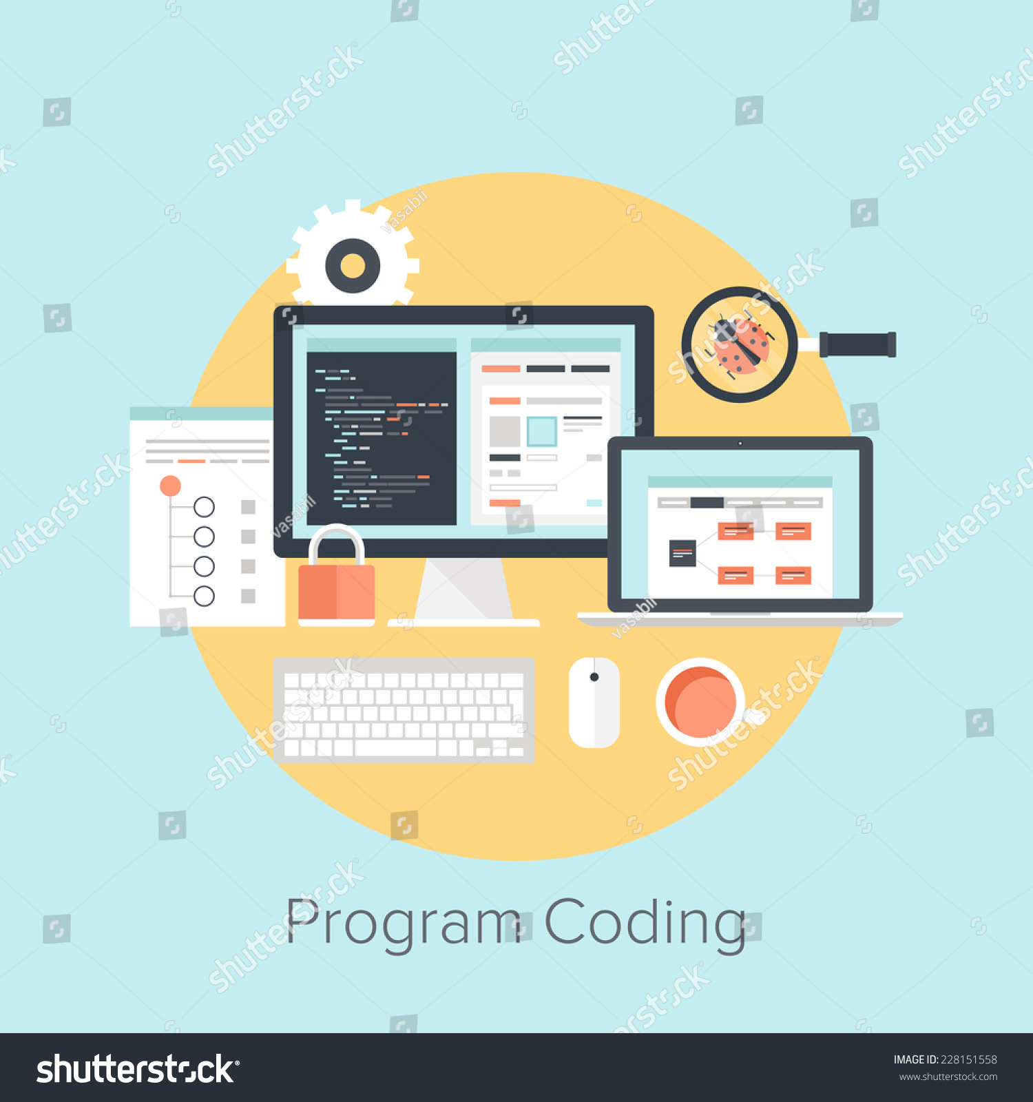 Abstract flat vector illustration software coding stock for Mobel design software