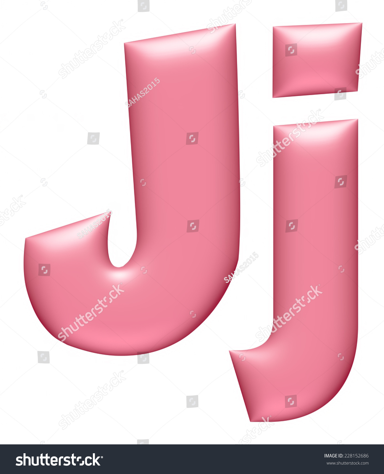 Light Pink Letter J Isolated On Stock Illustration - Royalty Free ...