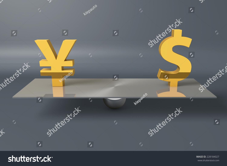 Japanese Yen Dollar Currency Symbols On Stock Illustration 228184027