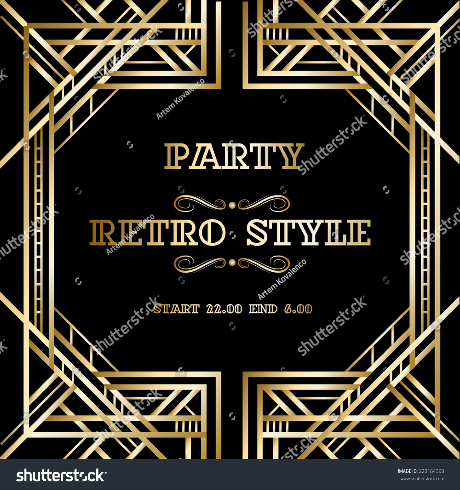 Vector Set Retro Pattern Vintage Party Stock Vector ...