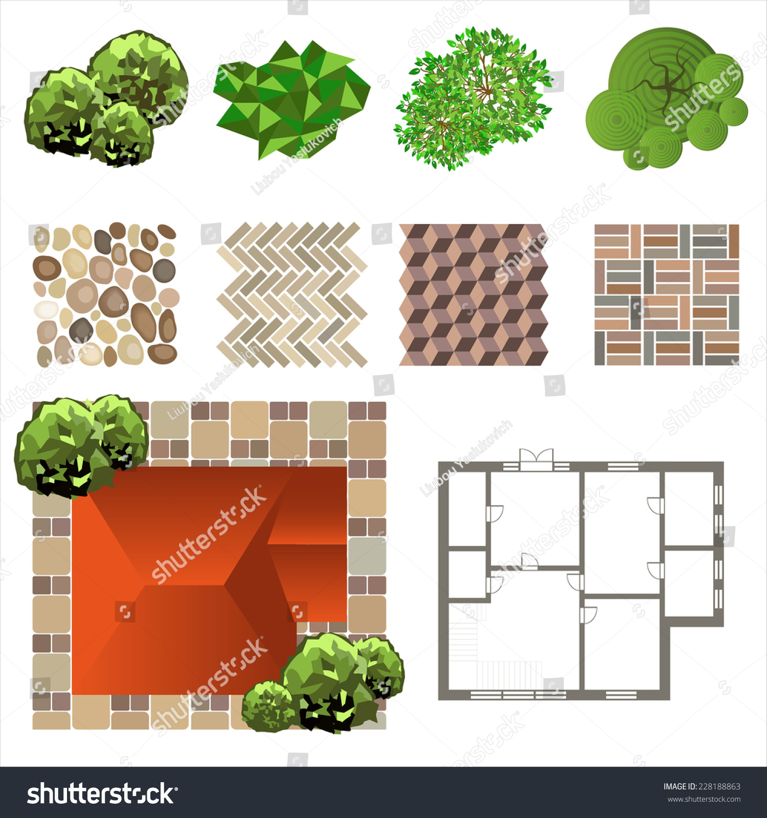 Detailed landscape design elements make your stock for Creating a landscape plan