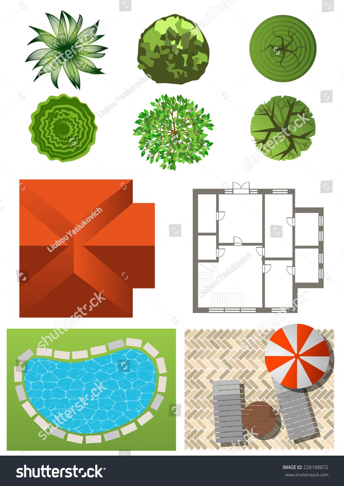 Detailed landscape design elements make your stock for Garden design elements
