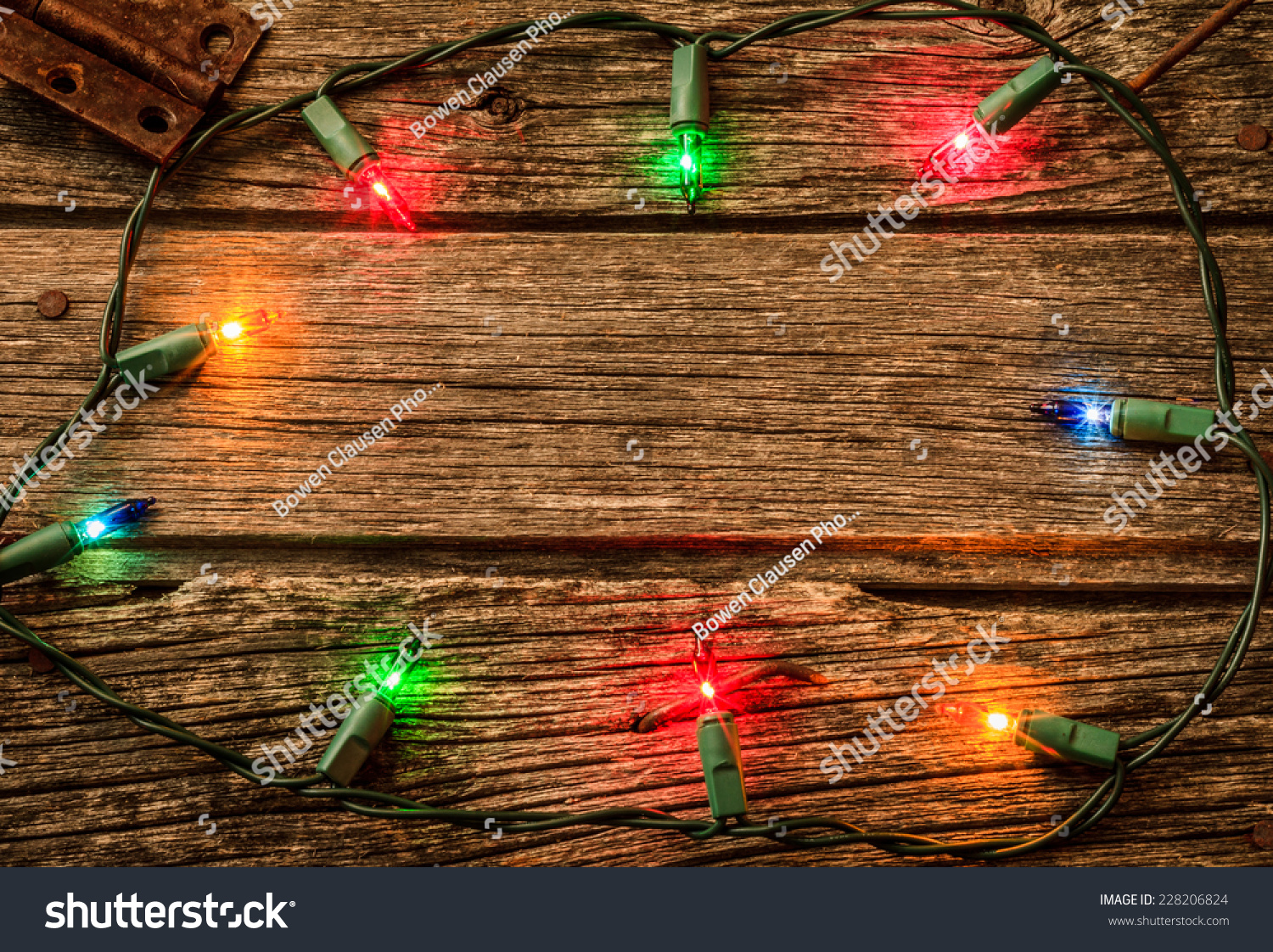 Royalty-free Christmas Lights on Old Rustic Wood… #228206824 Stock ...