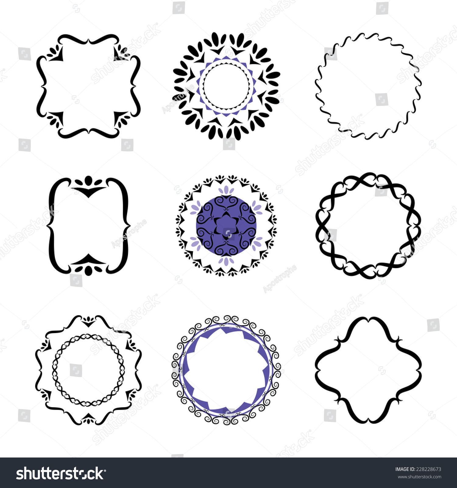 fancy design elements vector black white stock vector