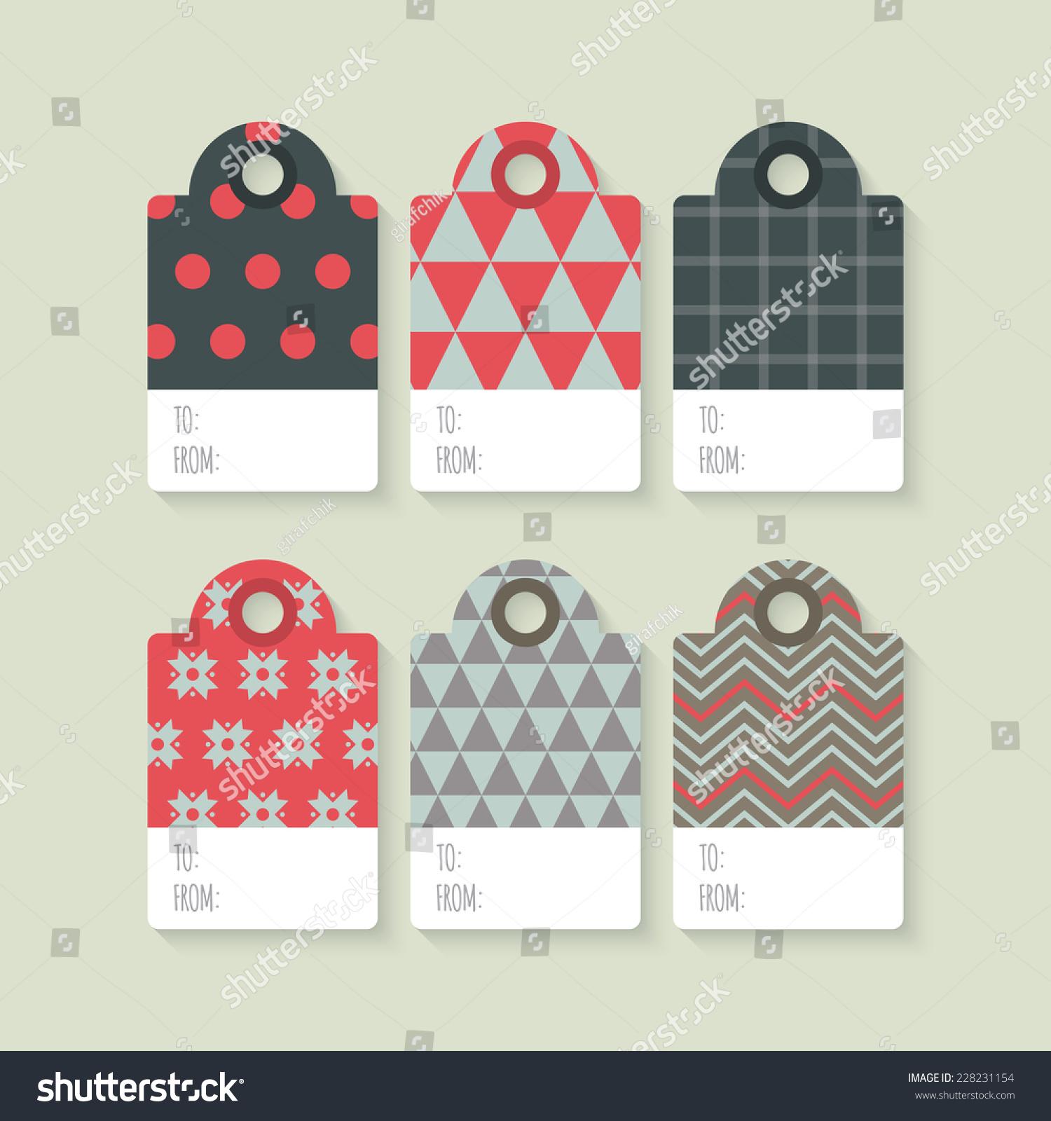 Modern Christmas Gift Tag Flat Stylish Stock Vector