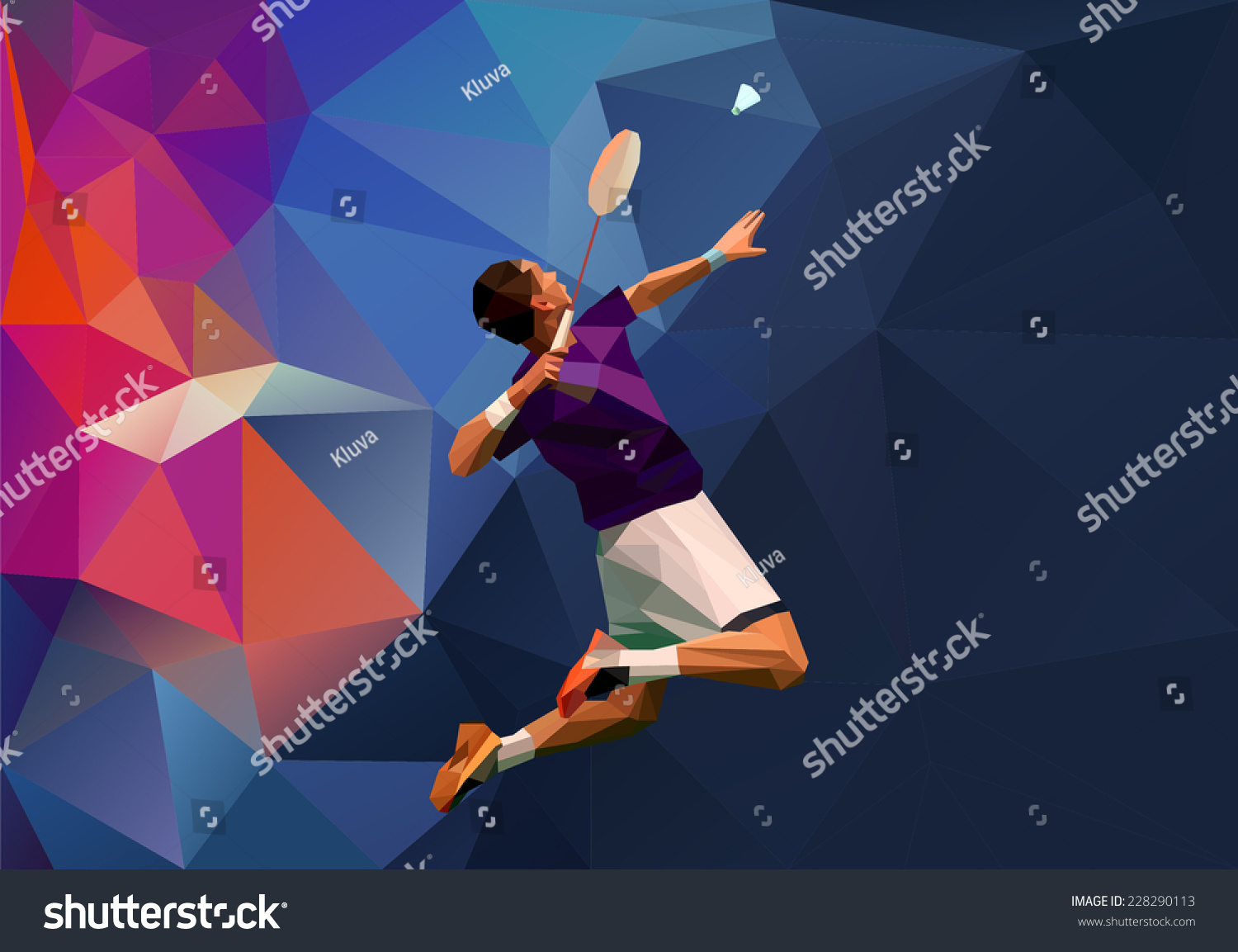 Abstract Triangle Volleyball Player Silhouette Stock: Abstract Triangle Polygon Style Male Badminton Stock