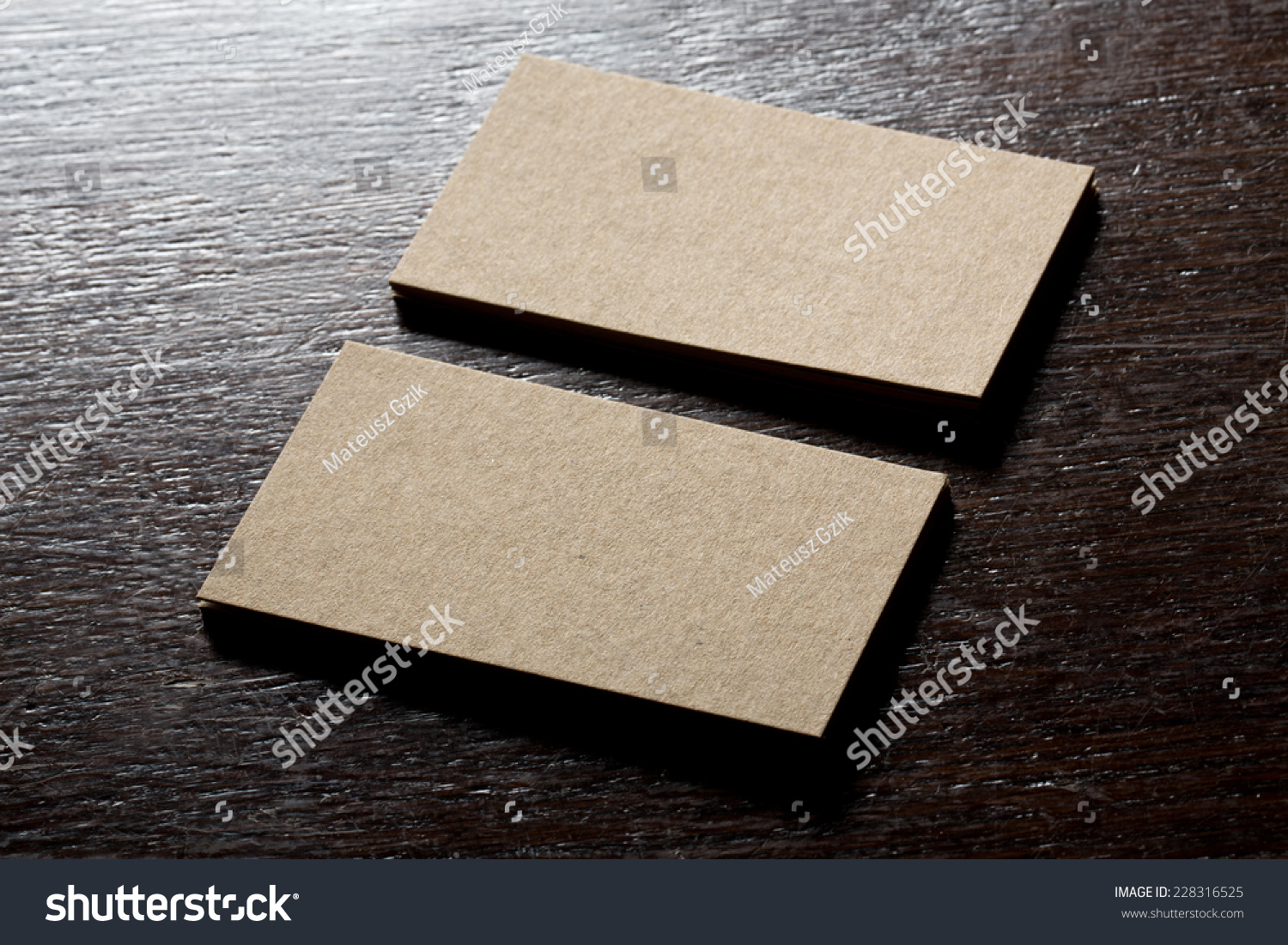 Recycled Paper Business Cards Mock Stock Photo 228316525 ...
