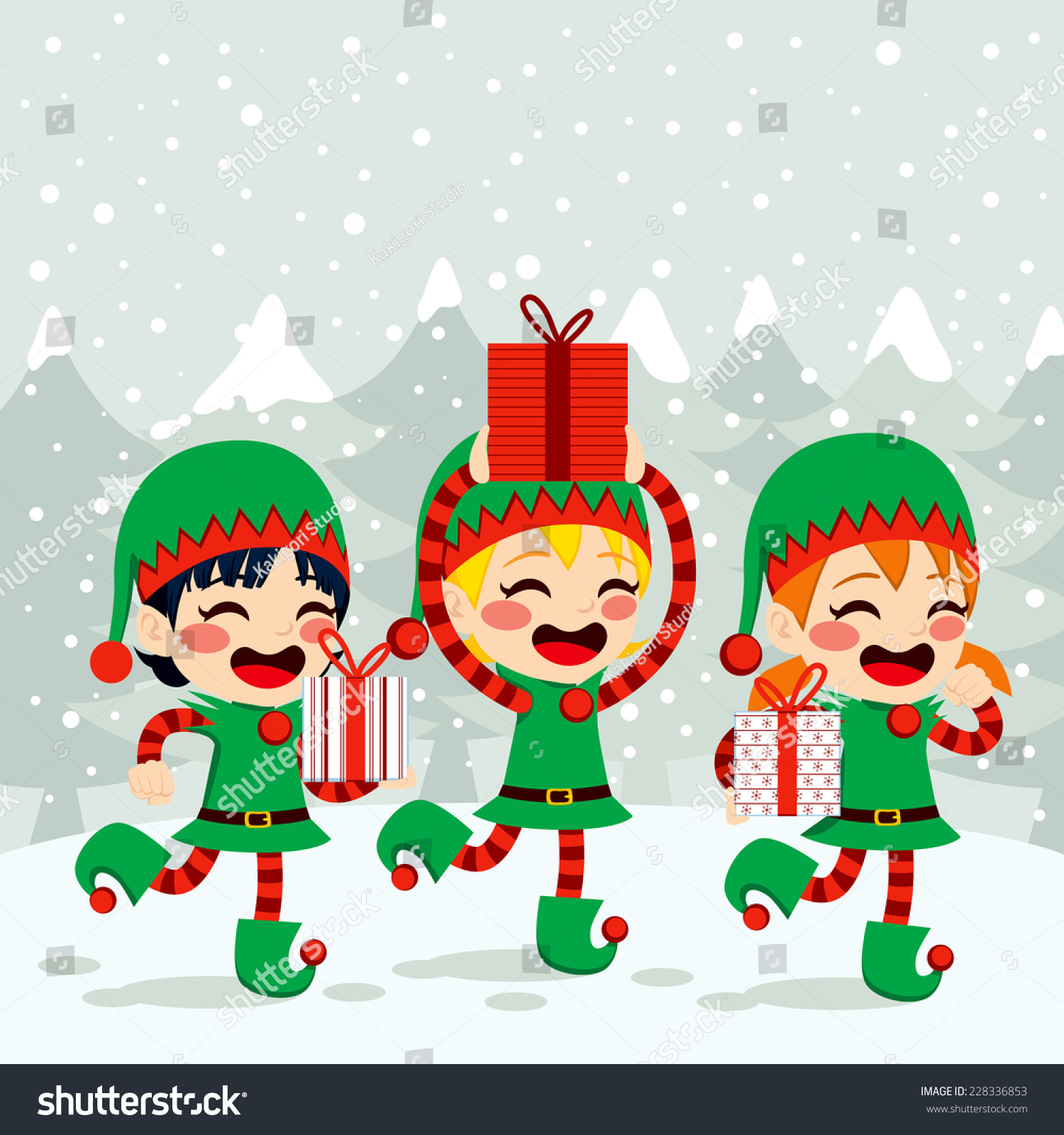 christmas santa helpers elves carrying presents on snow background