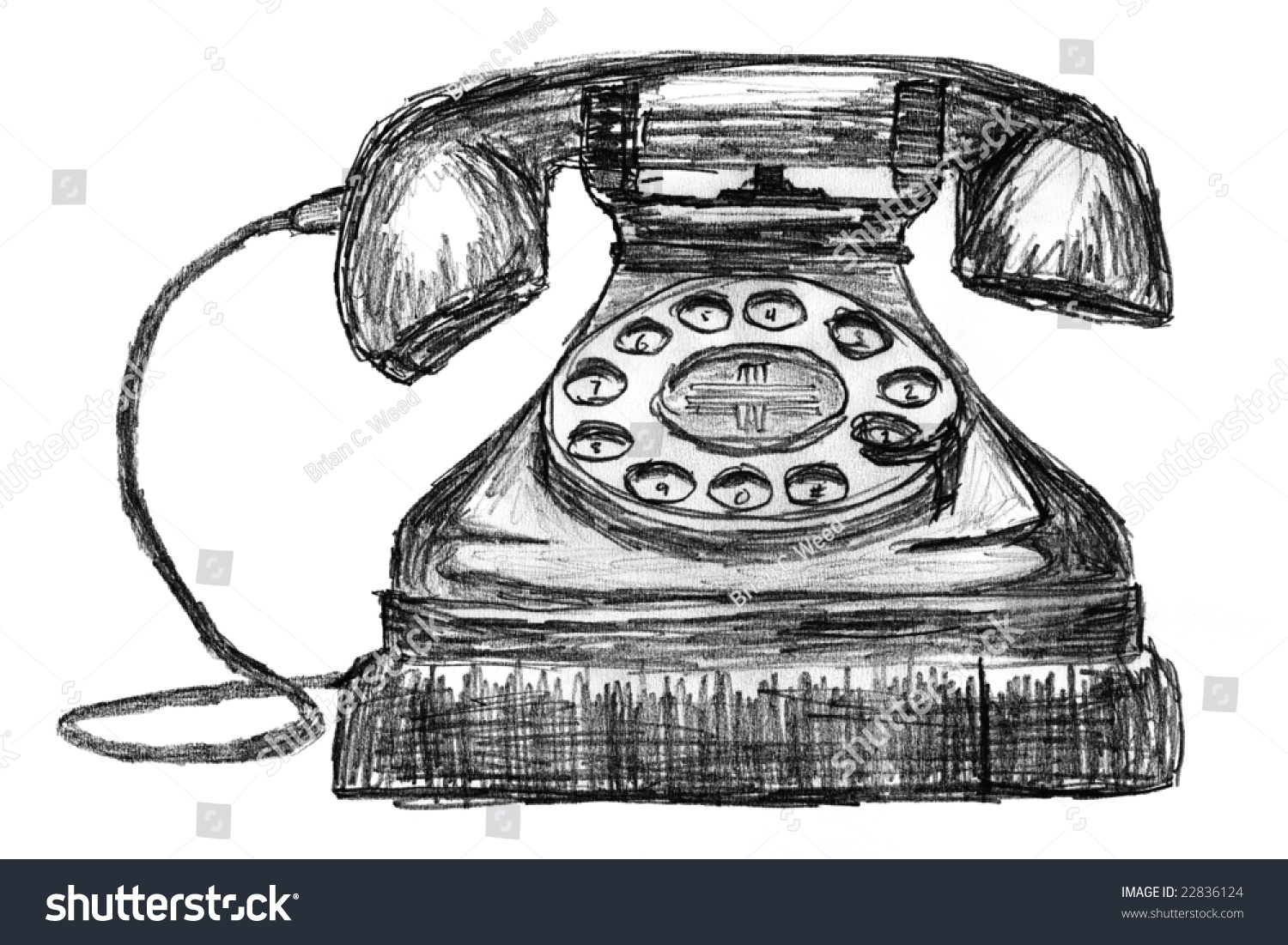 Pencil sketch of a vintage telephone stock photo 22836124 avopix com