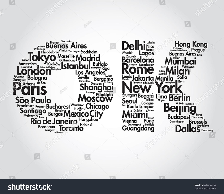 Travel Word Collage Illustration Different World Stock