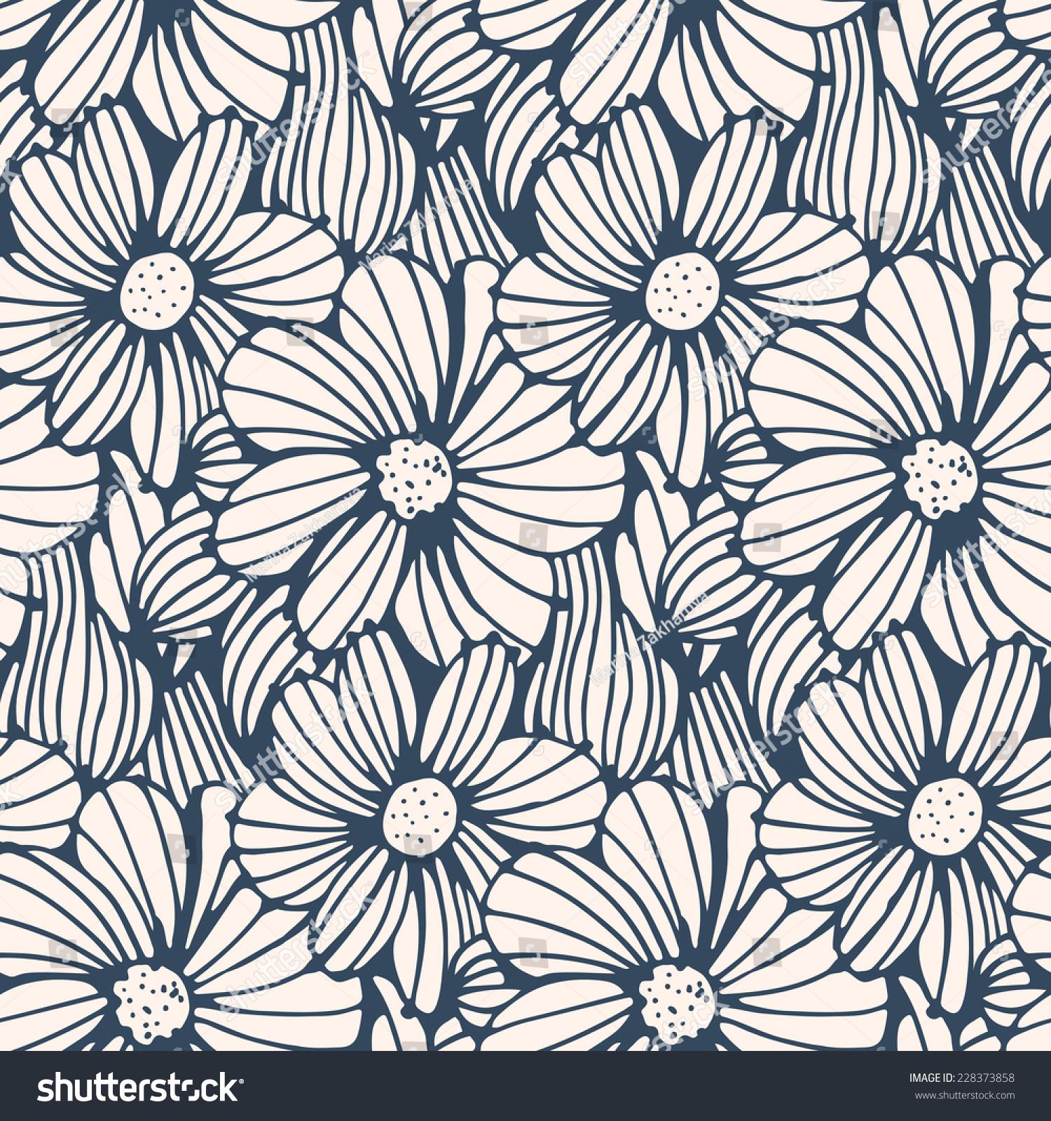 Seamless pattern black white flower background vector stock vector seamless pattern black and white flower backgroundctor illustration mightylinksfo