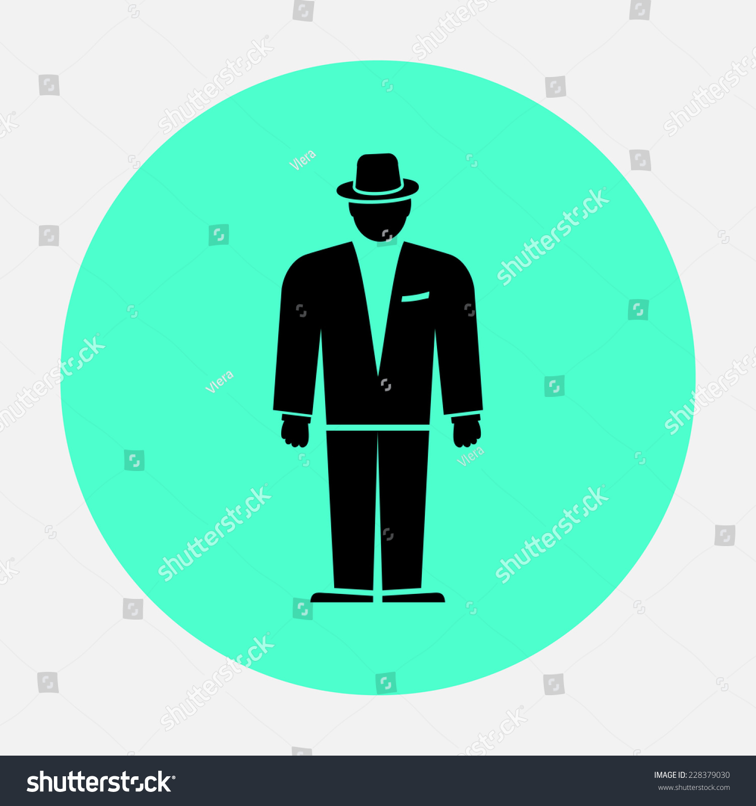 cb972cba3d28 Businessman icon. Man head in suit with hat. Black circle flat icon. Vector  isolated - Vector