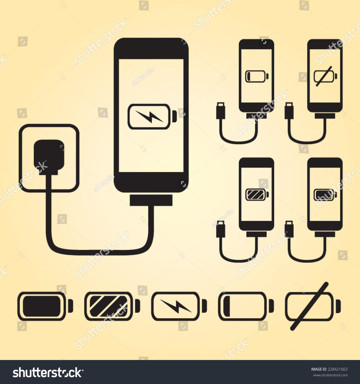 Smart phone iphone charge battery indicator stock vector 228421663 smart phone iphone charge with battery indicator level in black buycottarizona Image collections