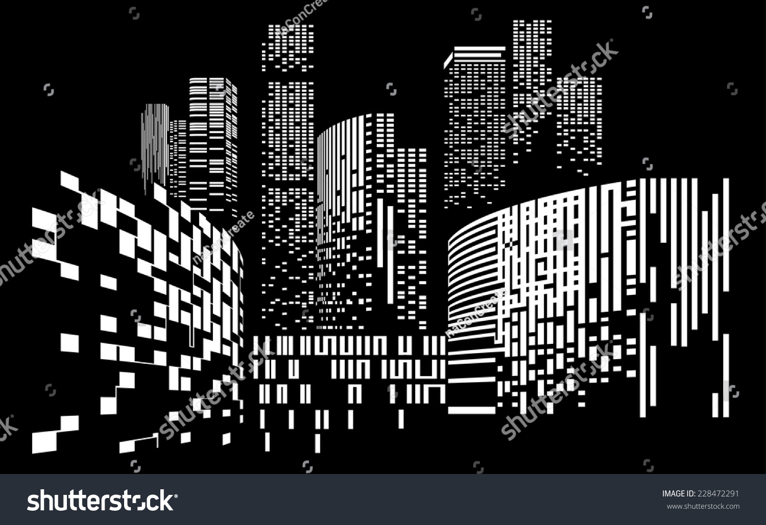 Eps10 Building And City Illustration At Night City Scene On Night