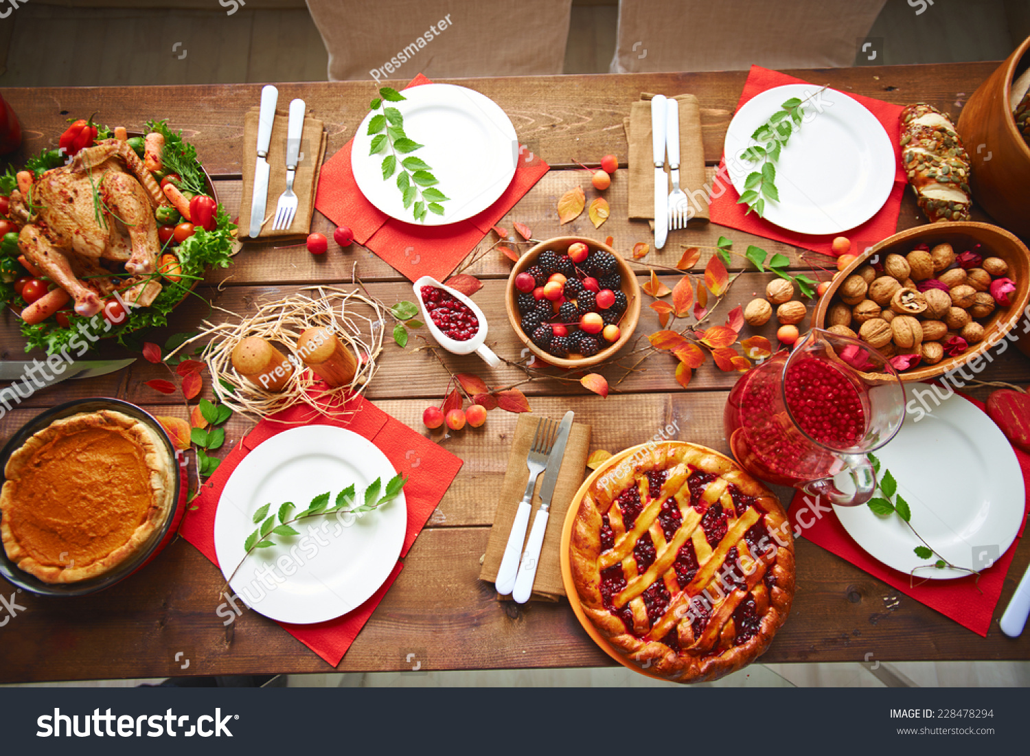 Wooden Food Table ~ Lots traditional festive food on wooden stock photo