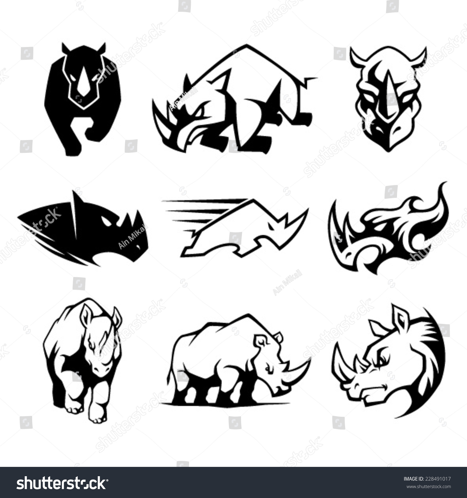 Cartoon charging rhino rhinoceros stock vectors amp vector clip art