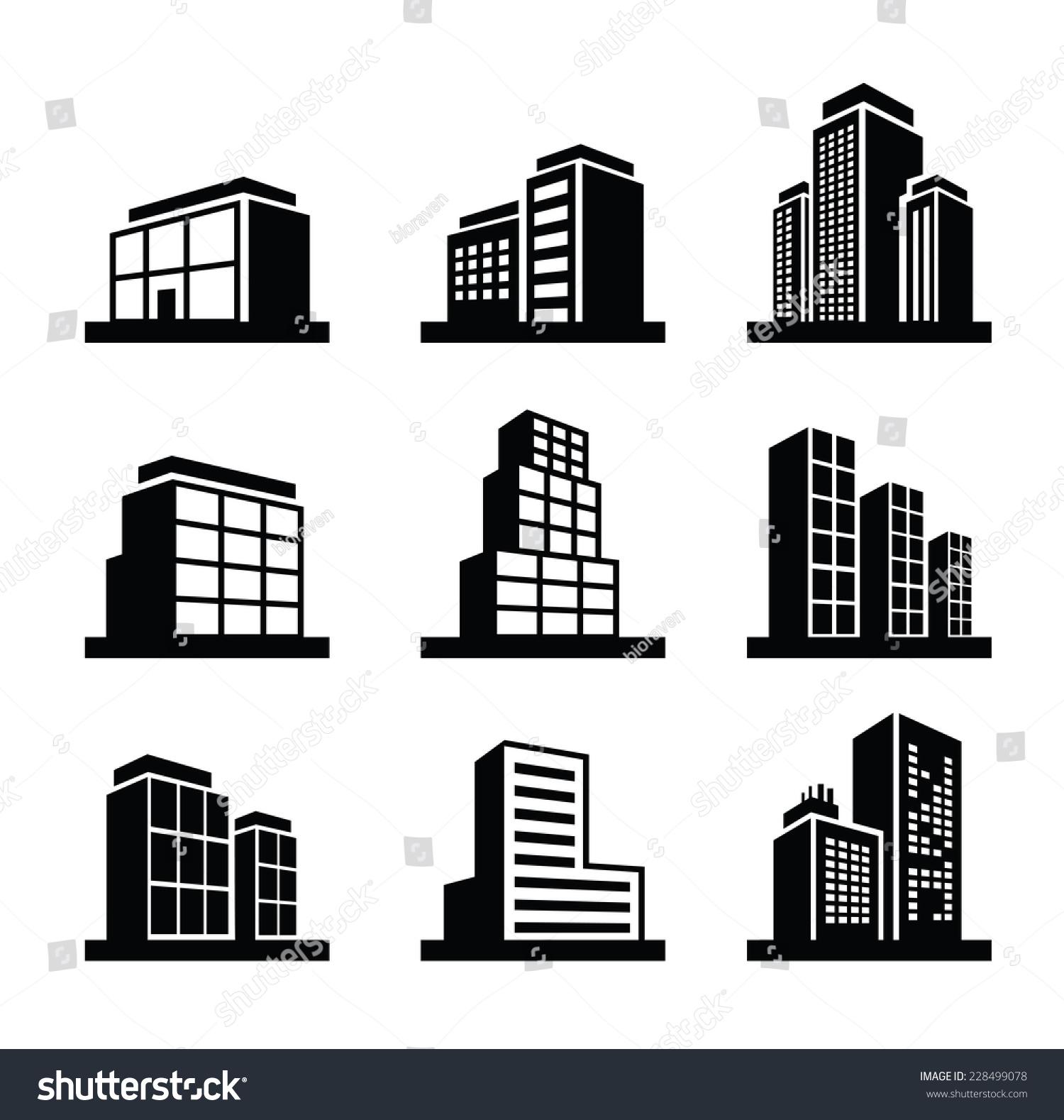 vector black illustration building icon on stock vector