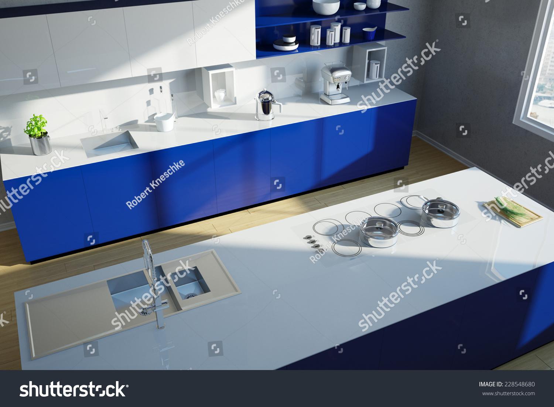 Modern Clean Blue Kitchen Island Above Stock Illustration 228548680 ...