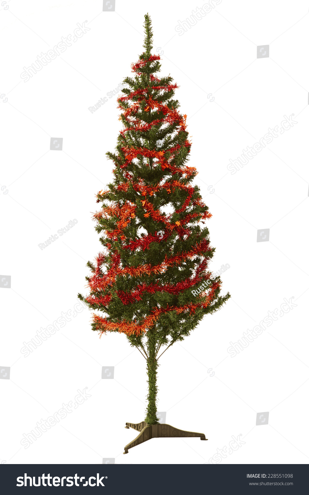 Slim Bare Christmas Tree Warm Light Stock Photo 228551098