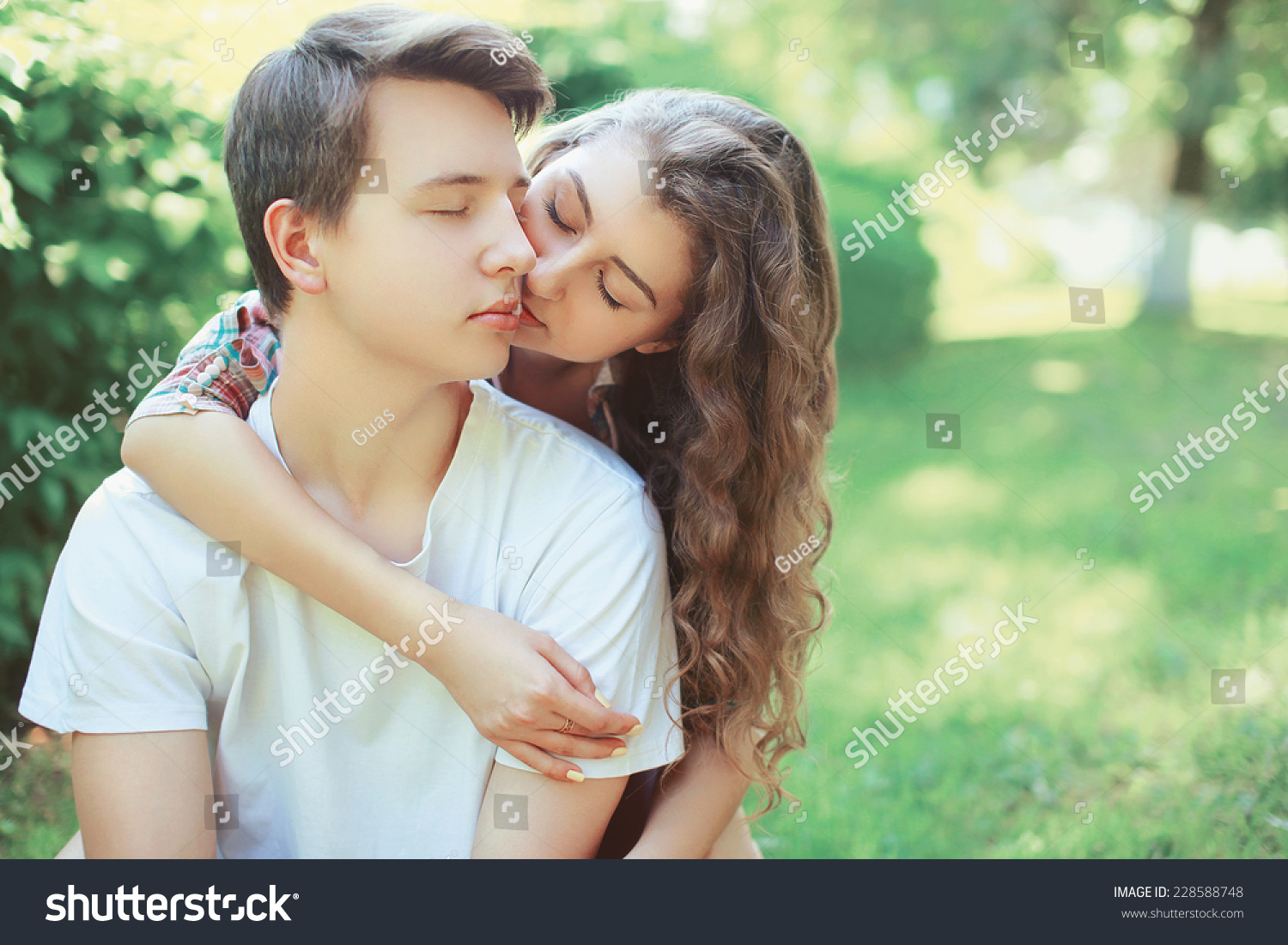 lovely young couple teenagers love kiss stock photo edit now