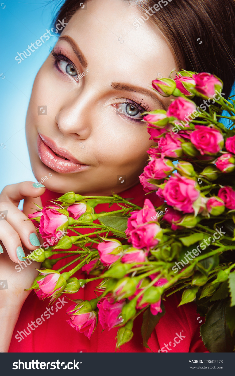 Portrait of beautiful young woman with flowers healthy long hair id 228605773 izmirmasajfo