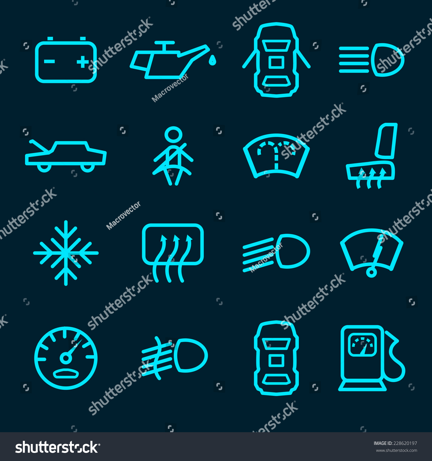 Car Dashboard Icons Set Warning Lights Stock Vector (Royalty