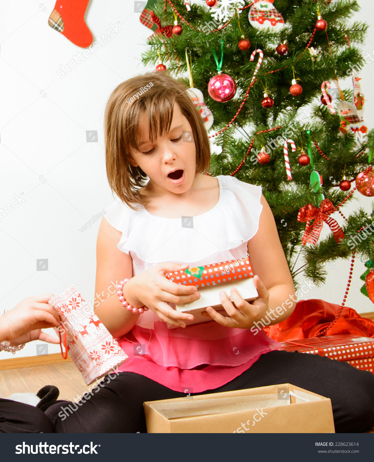 Cute Girl Christmas Gifts Stock Photo (Edit Now) 228623614 ...