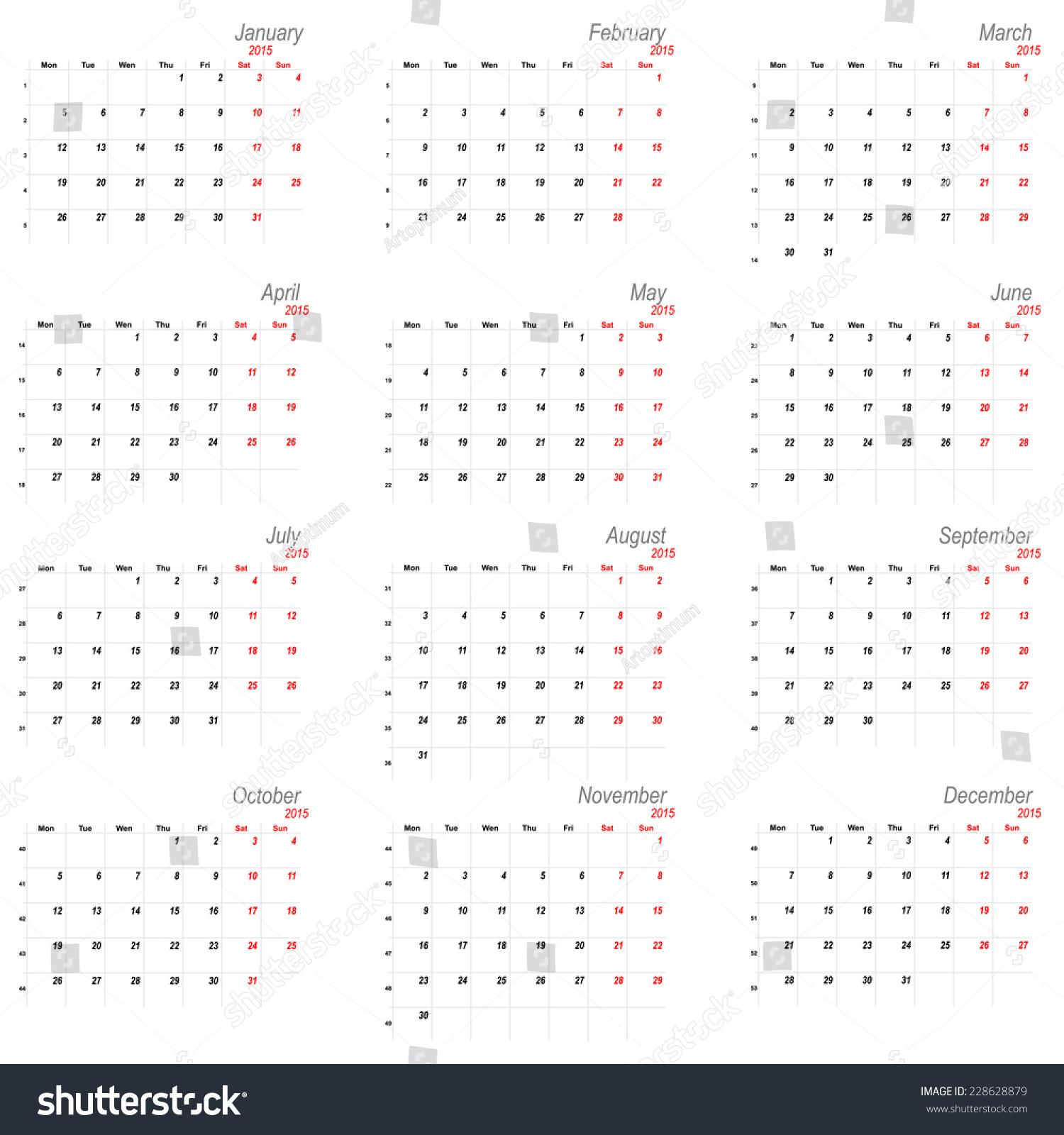 Calendar Planner Vector : Vector calendar planner schedule week starts with